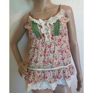 Lulumari 100% Cotton Floral Top Size Large